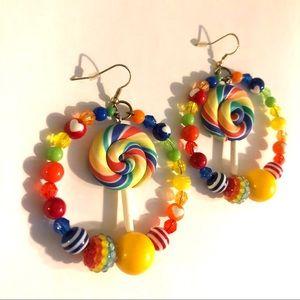 Lollipop 🍭 rainbow hoop loop bead candy earrings